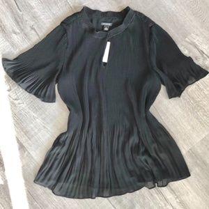 Ann Taylor Chiffon Flowy Blouse Black XS NWT